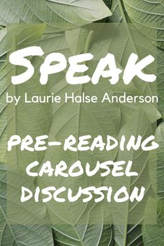 This carousel discussion is a fun way to introduce Laurie Halse Anderson's novel Speak. It's fun for students and set the tone for how the class will discuss controversial issues. High School Reading, High School Literature, Pre Reading Activities, Teaching Reading, Secondary Resources, Teacher Resources, Interactive Read Aloud, School Subjects, School Fun