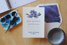 Soft watercolour florals and bold splashes of vibrant indigo hues feature in this charming wedding stationery suite. THIS LISTING INCLUDES: _____________________________  This listing is for a customised printable 5 x 7 wedding invitation.  After we have customised your invitation, you will receive a PDF file on either US Letter or A4 sized paper with your 5 x 7 invitation two up on the page, with trim marks. You will be able to print your invitations yourself on your home printer or have…