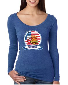 Women's Shirt Fast Food 'merica Love USA 4th Of July Tee  #longsleeve #merica #usa #burger #fastfood