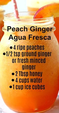 Peach Ginger Agua Fresca Recipe - Kimberly Ward - Peach Ginger Agua Fresca Recipe Peach Ginger Agua Fresca ~ Refreshing fruit water made with peaches, ginger and honey… Good for you and hydrating during the hot summer - Juice Smoothie, Smoothie Drinks, Fruit Smoothies, Smoothie Recipes, Healthy Juices, Healthy Drinks, Healthy Snacks, Detox Recipes, Tea Recipes