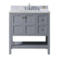 Virtu USA Winterfell 36 in. Single Bathroom Vanity in Grey with Marble Top, Round Sink and Mirror Bathroom Vanity Base, Marble Vanity Tops, Bathroom Vanity Cabinets, Vanity Set, Small Bathroom, Marble Top, Bathroom Ideas, Guest Bathrooms, Basement Bathroom