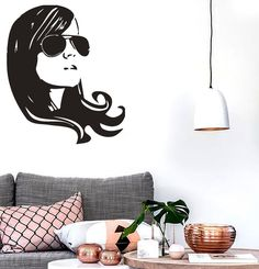 Wall Stickers Vinyl Decal Sexy Beautiful Girl Hairstyle Glasses (ig1021)
