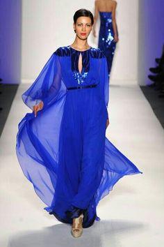 Vestido largo azul caftan