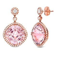 Peran & Scannell 18K Rose Gold Pink Tourmaline Earrings with Diamonds