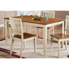 Candice 60x36 Dining Table in Oak and White is a part of Candice Collection by Steve Silver