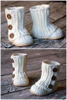 Crochet Baby Wrap Boots Pattern- Ankle High Baby Booties Free Patterns Wonder if I could scale this up.Such sweet Baby Wrap Boots crochet pattern from Two Girls Patterns! I love the sweet buttons! This looks like a great crochet baby booties pattern! Booties Crochet, Crochet Baby Boots, Baby Girl Crochet, Crochet Baby Clothes, Crochet Slippers, Crochet For Kids, Diy Crochet, Crochet Outfits For Babies, Crotchet Baby Shoes
