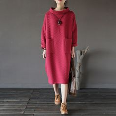 Women Retro Cotton High Neck Loose Dress Ladies thick Padded Dresses Robes Warm Plus Size Pockets Vintage Winter Dress-in Dresses from Women's Clothing & Accessories on Aliexpress.com | Alibaba Group