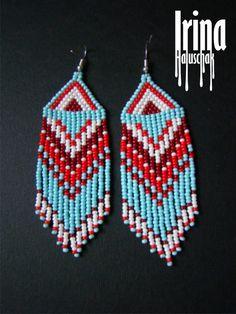 dangle fringe earrings Beaded earrings seed bead by IrinaHaluschak