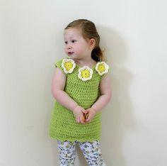 Toddler Flower Tunic Dress   AllFreeCrochet.com