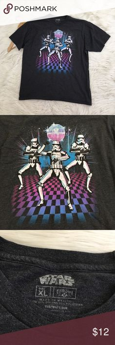 "Star Wars Mens Storm Trooper Gangnam Style T-Shirt Star Wars men's XL funny T-Shirt  • Screen Print Of storm troopers dancing Gangnam Style with a disco ball • Grey • Cotton blend • Good condition no flaws  Length: 28"" Armpit to armpit: 23.5""  📌NO low ball offers 📌NO modeling 📌NO trades  Please check out the rest of my closet, I have various brands and ALL different sizes. Some new with tags, others in excellent condition😊 Star Wars Shirts Tees - Short Sleeve"
