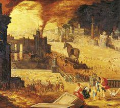 Troya devastada. Este óleo muestra la caída y destrucción de Troya. En la parte inferior derecha, Eneas huye con su familia. Siglo XVII. Museo de Bellas Artes, Blois.