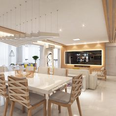 #mulpix Sala de Estar e Jantar | Projeto de uma sala toda integrada; Estar, Jantar e Varanda Gourmet. Com um ambiente assim não dá vontade de sair de casa né?!