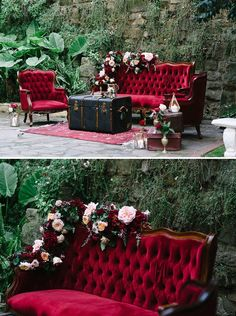 Burgundy red velvet lounge setting for wedding cocktail hour with flowers, vinta. - Burgundy red velvet lounge setting for wedding cocktail hour with flowers, vintage suitcases, brass vessels and gold lanterns Vintage Suitcase Wedding, Vintage Suitcases, Vintage Christmas Wedding, Vintage Furniture Wedding, Vintage Wedding Theme, Vintage Luggage, Burgundy And Gold, Burgundy Wedding, Red Rose Wedding
