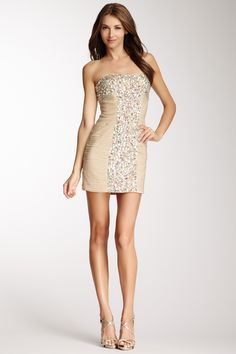La Femme Beaded & Ruched Strapless Dress