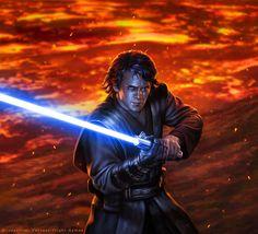 Star Wars - Anakin Skywalker by R-Valle on DeviantArt Star Wars Film, Star Wars Episoden, Star Wars Fan Art, Anakin Vs Obi Wan, Anakin Vader, Star Wars Pictures, Star Wars Images, Starwars, Anakin Skywalker