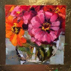 "Zinnias is an original daily oil painting, 6""x6"", on raised panel, by Kim Smith #OilPaintingDIY"