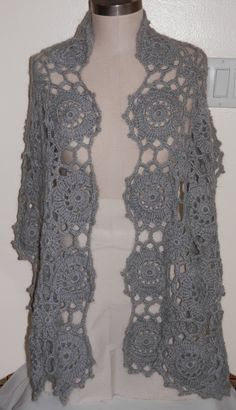 Beautiful Hand Crocheted Medallion Design Shawl