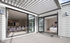 A fantastic pergola system is installed for extra shade and to let the light in when required. Rafter, Construction Finance, Home Loans, House, Show Home, Home, Property, Canopy, Retractable Canopy