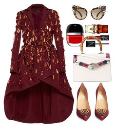 """""""Christian Siriano Embellished Evening Coat"""" by thestyleartisan ❤ liked on Polyvore featuring Christian Siriano, Christian Louboutin, Miu Miu, NARS Cosmetics, Marc Jacobs, Gucci and statementshoes"""