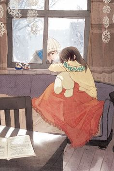 ✮ ANIME ART ✮ anime couple. . .romantic. . .love. . .sweet. . .at the window. . .sleeping. . .snow. . .winter. . .snowflakes. . .sweater. . .hat. . .blanket. . .cute. . .kawaii