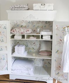 What a pretty INSIDE of this gorgeous armoire! - Summer Home Tour Songbird {welcome to our house}