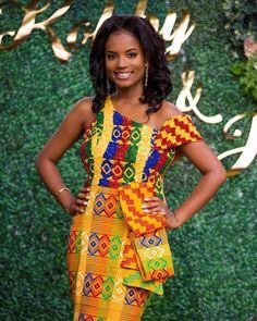 Beautiful kente dress for wedding African Print Dresses, African Dresses For Women, African Fashion Dresses, African Clothes, Ankara Fashion, African Inspired Fashion, African Print Fashion, Africa Fashion, African Wedding Attire