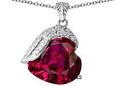 Star K Angel Wing of Love Pendant Necklace with Heart-Shape Created Ruby Sterling Silver. Finejewelers is a US company based in New York. 925 Sterling Silver. Star K. Designs are exclusive and protected by Copyright Laws. 18 inch Chain in a matching metal will be included. Lifetime Warranty exclusively offered by Finejewelers.