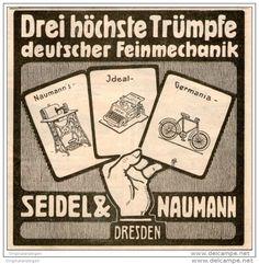 Original-Werbung/Anzeige 1907 - SCHREIBMASCHINEN/ NÄHMASCHINEN/ FAHRRÄDER SEIDEL & NAUMANN  DRESDEN -  ca.90 X 90 mm