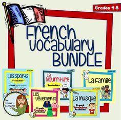 This bundle includes 5 of my French Vocabulary products into one! Save 35% when you buy this Bundle!Products include:Family Vocab ActivitiesThis 9-page package includes vocabulary terms and activities to teach your students how to talk about their families.Package includes:-Vocabulary list-Crossword puzzle (with answer key)-Fill in the blanks activity (with answer key)-Quiz (with answer key)Food Vocab ActivitiesThis 5-page package includes:- 2 pages of vocabulary lists, broken up into…