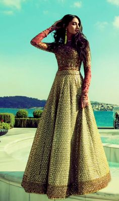 Sonam Kapoor in a red and gold Sabyasachi Indian outfit // lengha, lehenga fashion, sari, saree