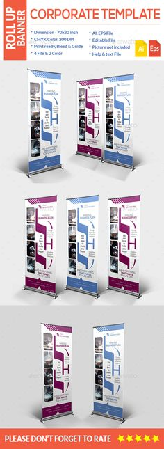 Corporate Roll-up Banner (AI Illustrator, CS6, 30x70, ad, advert, advertisement, ai, blue, corporate roll-up, eps roll-up, megenta, roll-up banner)