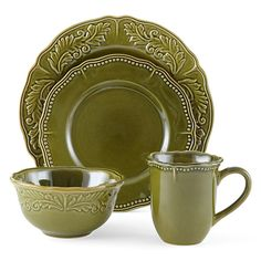 JCPenney Home™ Amberly Olive Green 16-pc. Dinnerware Set - JCPenney