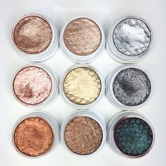 ColourPop shades are! Top row left to right - amaze plunge Liberty middle row left to right - sequin get lucky deck bottom row left to right game face nillionare and Bae xx by aprilmorrismua Makeup Goals, Love Makeup, Makeup Inspo, Makeup Inspiration, Oriflame Cosmetics, Colourpop Cosmetics, Eyeshadows, Colourpop Eyeshadow, Dupes