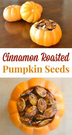 Make your Halloween pumpkin-carving tradition even better by saving the seeds to make these cinnamon roasted pumpkin seeds. They're delicious and also happen to be a wonderfully healthy snack!