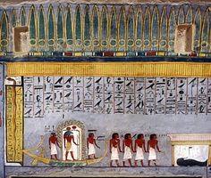 Llibre de les Portes en les cantonades superiors dels nínxols de les pedres màgiques; Les pedres que impedien als mals esperits amb el mort. KV tomba 16 - Ramsés I