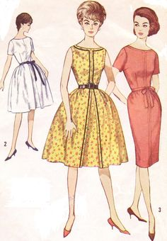 60s Rockabilly or Wiggle Dress Pattern Simplicity Sewing Pattern 4388 Womens One Piece Dress with Two Skirts Size 16 Bust 36