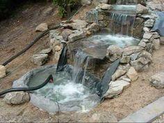 construccion de una cascada - fuente - waterfall. - YouTube
