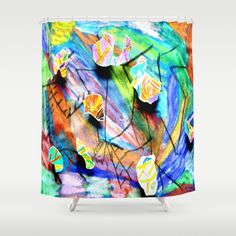 DESCRIPTION Customize your bathroom decor with unique shower curtains designed by artists around the world. Made from 100% polyester our designer shower curtains are printed in the USA and feature a 12 button-hole top for simple hanging. The easy care material allows for machine wash and dry maintenance. Curtain rod, shower curtain liner and hooks not included. Dimensions are 71in. by 74in.
