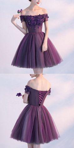 Cute A line purple off shoulder short prom dress, homecoming dress,sweet 16 dresses from Prettyqueenprom - Prom Dresses Design Sweet 16 Dresses, Elegant Dresses, Sexy Dresses, Beautiful Dresses, Evening Dresses, Fashion Dresses, Long Dresses, Prom Gowns, Vintage Dresses