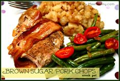 Brown Sugar Pork Chops with bacon in the crock pot. Perfect for the southerner in you!