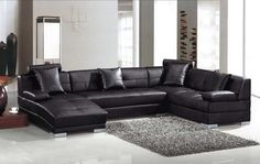 Chic U-Shaped Sectional Sofas You Must Have : Dazzling Black Ultra UShaped Sectional Sofa Design Inspiration in Grey Colored Modern Bedroom . U Shaped Sectional Sofa, Sectional Sofa With Chaise, Leather Sectional Sofas, Sofa Couch, Modern Sectional, Sofa Set, Black Sectional, Black Sofa, Leather Cushions