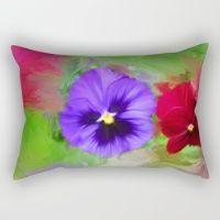 Painted Peonies Rectangular Pillow