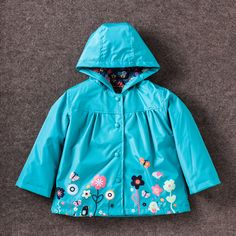 Children Spring Outwear Flower Hooded Jacket Boys Girls Windproof Keep Warm Rain Pants And Raincoat Clothing For 2-6 Age Baby