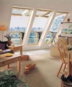 Roof Window That Can Transform Into A Small Balcony Dachfenster, das sich in einen kleinen Balkon ve Attic House, Attic Loft, Loft Room, Attic Ladder, Attic Office, House Rooms, Tiny House, Skylight Window, Roof Window