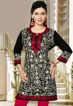 Embroidered Rayon Kurti in Black: TGX1