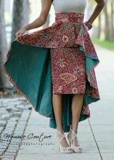 La jupe de Ivie High Low par NomoseCouture sur Etsy (This is so far beyond fabulous it's crazy) African Dresses For Women, African Attire, African Wear, African Women, African Skirt, African Outfits, African Style, African Inspired Fashion, African Print Fashion