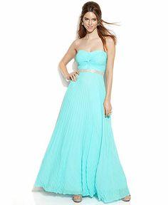 Betsy & Adam Strapless Jewel-Trim Pleated Gown - Juniors Prom Dresses - Macy's