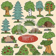 conjunto de vectores color de artículos forestales