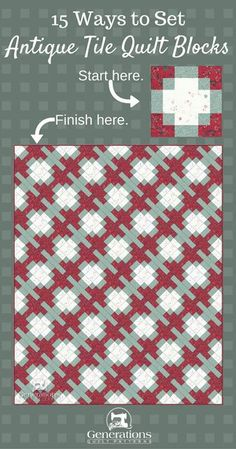 Sew Quilt Antique Tile Quilt, Part The final reveal! - Our hunt for the perfect Antique Tile quilt design is near the end. In these variations the block disappears into the layout. Strip Quilts, Scrappy Quilts, Easy Quilts, Patch Quilt, Quilting Tips, Quilting Tutorials, Quilting Projects, Quilting Designs, Quilt Design