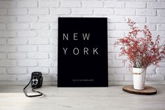 """""""New York – the city that never sleeps"""" Refresh your walls with this stylish New York monochrome print. Kalender Design, Banksy Art, International Paper Sizes, Messages, Dorm Decorations, Minimalist Design, Printable Wall Art, Poster Prints, Posters"""